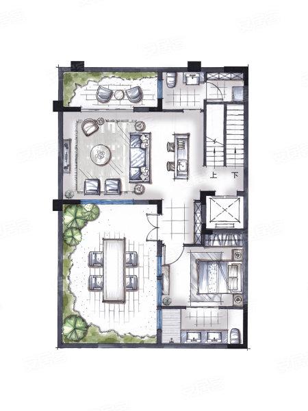 合院别墅户型, 独栋别墅, 建筑面积约232.00平米
