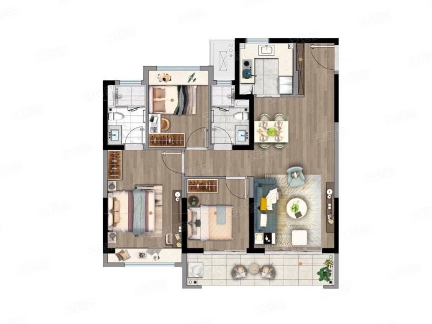 B户型, 3室2厅2卫1厨, 建筑面积约106.00平米