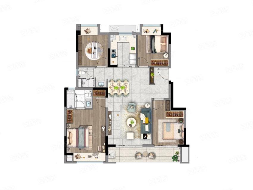 D户型, 4室2厅2卫1厨, 建筑面积约118.00平米
