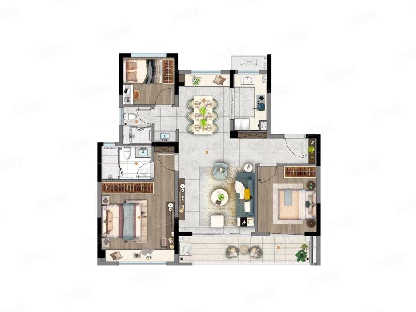 C户型, 3室2厅2卫1厨, 建筑面积约106.00平米