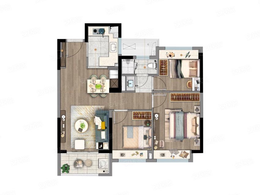 A户型, 3室2厅1卫1厨, 建筑面积约89.00平米